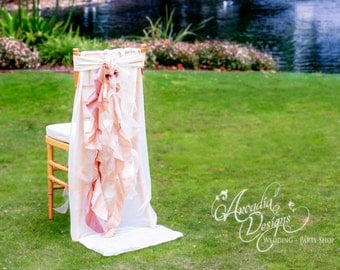 Wedding Chair Sash, Bridal Chair Decor MADE TO ORDER, Chiffon Sash Slipcover and Curly Willow set for Reception, Bridal Shower Decoration
