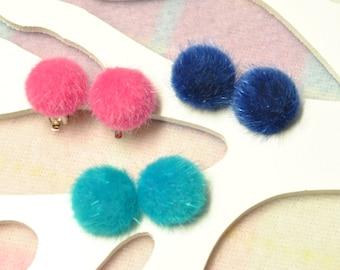 Fluffy Clip on Earrings