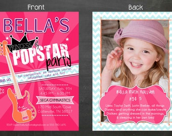 Princess & Popstar party invitation, pink invitation, Barbie birthday, double sided, digital file