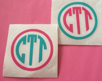 Pack of TWO 2 inch monogram decals