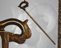 NEW RAM CANE vintage style walking stick hiking hand carved of solid wood handmade wood wooden top art ethnic folk goat, greate gift