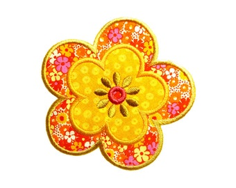 "Double Daisy Applique Machine Embroidery Design Pattern in 3 sizes 4"", 5"" and 6"""