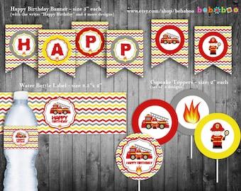 Firetruck Birthday Party Package/Firetruck Party Package/Birthday Party/Firetruck/Firetruck Printable/Firetruck Party/Printable/Invitation