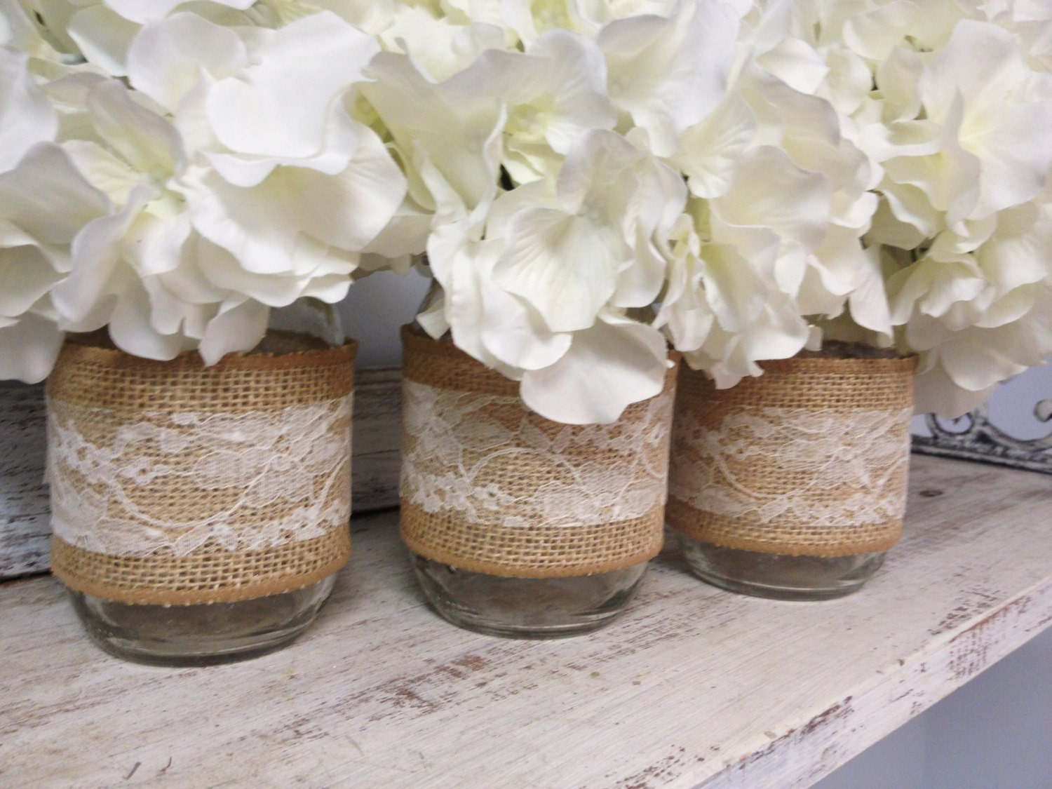 Set Of 3 Burlap And Lace Wrapped Mason Jars Perfect For