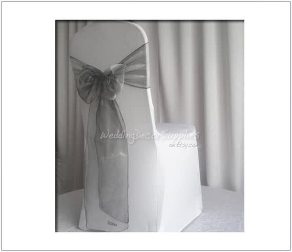 10 dark grey organza chair sashes bows wraps ribbons wedding party