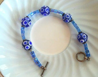 Hand Blown Bead Blue Polka Dot Glass Beaded Bracelet