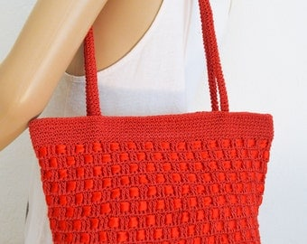 Red Knit Tote,purse,Bag ,shoulder bag, with Ribbon