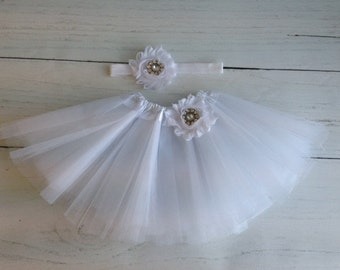 White Tutu Set Baby Newborn
