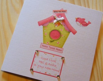 Handmade New Home Personalised Card - Bird House