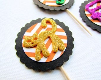 SALE!!! Kids Halloween Cupcake Toppers - Set of 12