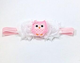 Pink Owl Headband, Owl Headband, Owl birthday Headband, Pink Headband, baby headband, White Headband, Pink Owl Headband, white owl headband