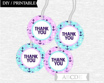 Instant Download Purple and Aqua Thank You tags Nautical Birthday party Baby shower DIY Printable (PDNM001)