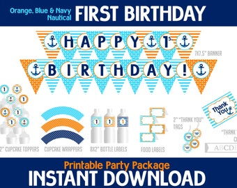 Instant Download Navy, Orange, Blue Nautical First Birthday Package, Banner, Cupcake toppers, wraps, Thank You cards, Food labels ( PDN003 )