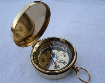 Brass Compass w/ Lid - Nautical Maritime - Pendant / Keychain - Hiking Camping