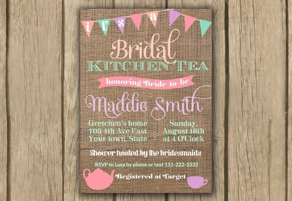Items similar to bridal shower invitation kitchen tea for Bridal shower kitchen tea ideas