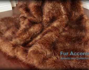 FUR ACCENTS Faux Fur Throw  Blanket /  Brown Tones /