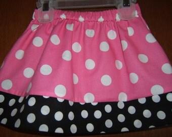Girls Pink and Black Polka Dot Twirl Skirt 12month-6 Baby Toddler Girl Beach Vacation Spring Summer Birthday Florida Vacation Beach