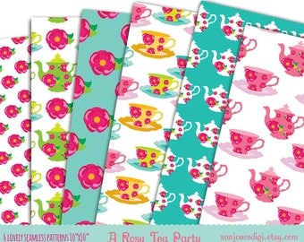 Pattern Papers -  Tea Party Patterns - Set of 6- Instant Download - Digital Scrapbooking