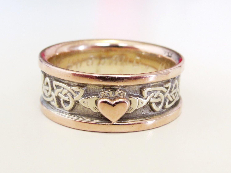 Mens Vintage Claddagh Celtic Knot Wedding Band Ring 14k