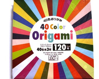Set of 120 Sheets of Solid Colours Origami Folding Paper, Japanese Origami Paper, Crane Folding, Wrapping Paper