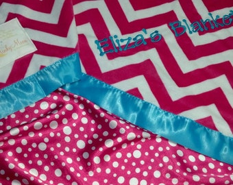 FREE SHIPPING Personalized Baby Blanket with Fuchsia Hot Pink and White Chevron Zig Zags