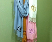 Monogrammed Shawl Wraps - Personalized Scarf - Mother's Day Gift - Stole - Pashmina - Wedding - Bridesmaids