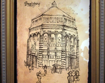 Florence Baptistery - Print of Original Travel Sketch on Tea Stained Rives BFK Paper