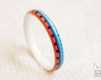 Ceramic porcelain jewellery,Handdrawn blue and red pattern slim ceramic porcelain bangle,birthday gift,graduation gift,unique Christmas gift