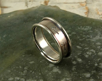 Sterling Silver Banded Viking Rune Ring