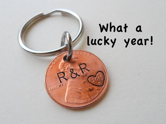 Personalized Penny Keychain, Couples Keychain, Lucky Penny, Anniversary Gift, Husband Wife Key Chain, Boyfriend Girlfriend Gift, Customized