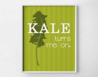 Kale Kitchen Print, Kitchen Wall Decor, Kitchen Wall Art, Typography Poster, Wall Art, Kale Print, Kitchen Quote Art, Restaurant Art, 0121
