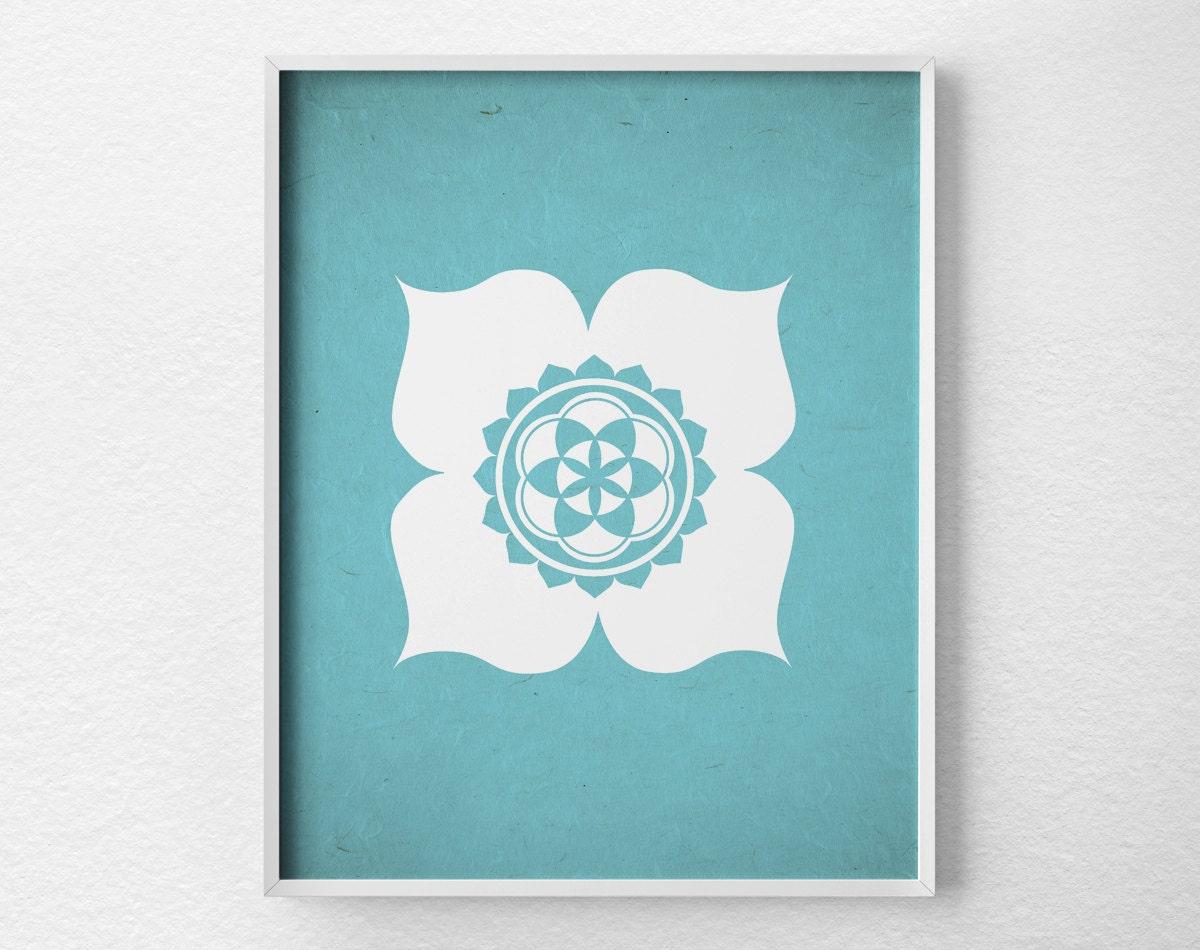 Yoga Studio Wall Decor : Lotus poster yoga print studio decor wall art