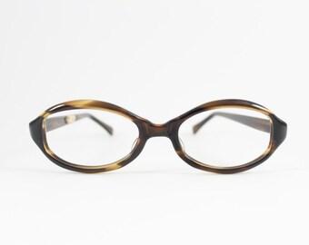 Vintage 60s Oval Eyeglass Frame | Amber Tortoiseshell Horn-Rimmed Glasses - Alderman