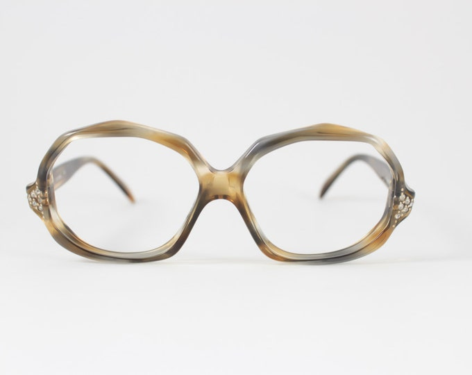 Vintage 60s Eyeglasses | Safilo Jeweled Clear Peach and Grey Glasses | NOS Eyeglass Frame | Deadstock Eyewear