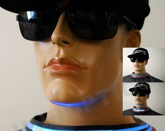 Futuristic Light Up Collar Prj1 for DJ Dancers Sound Reactive Cyborg Future LED Helmet Cybernetic Light Up Wear Gigs Electric Party Glow