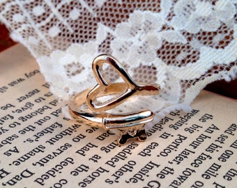 Skeleton Key Heart Ring Wrap Around Ring Rose Gold Vintage Style Adjustable Jewelry