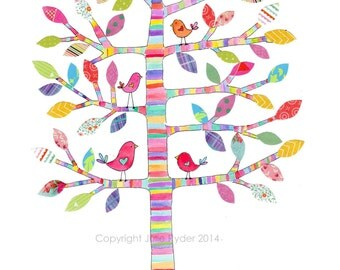 Print Tree with colourful stripes and Birds Childrens Wall Art