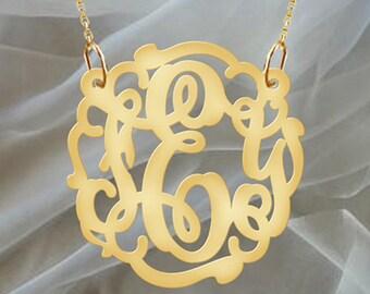 Monogram Necklace Gold Tone Wedding Vintage Design initials personalized necklace