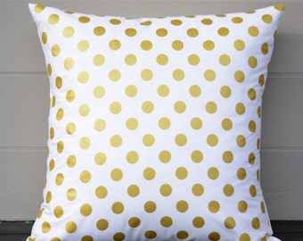 "White and Gold Pillow Cover. One 18"" x 18""."