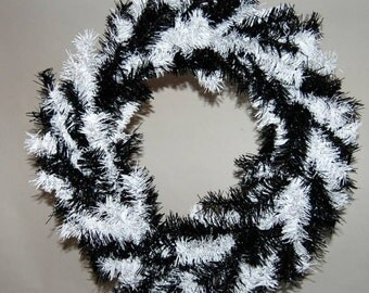 """Black and White Christmas Wreath - 32"""""""