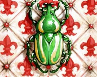 "Print ""Emerald Fruit Chafer Beetle"" by Angel Hawari"