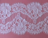 10cm SWATCH for French lace. Delicate Chantilly lace, fine quality. White or Ivory