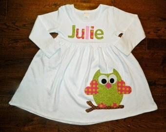 Owl Applique Dress-Girl's Dress-You choose color