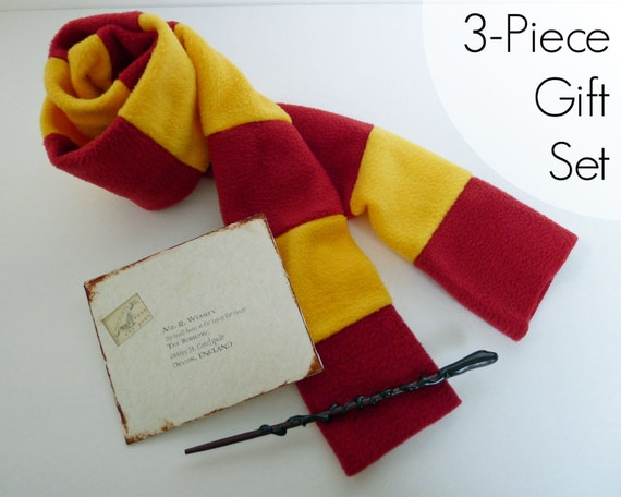Harry Potter Costume - Gryffindor 3-Piece Gift Set-Scarf, Wand,& Hogwarts Letter - Hufflepuff, Ravenclaw, Slytherin