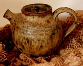 Vintage Japanese Design Ceramic Teapot- Brown, Tan Earth tones