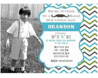 Mustache invitation Lil' man invitation,  Little Man invitation, Mustache Invite  personalized Birthday party invitation