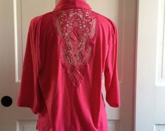 Hot 90s Raspberry Cardigan With Back Lace Panel