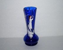Antique Mary Gregory Girl Cobalt Blue Glass Vase