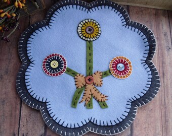 Wool Felt Flower Penny Candle Mat  FREE SHIPPING!