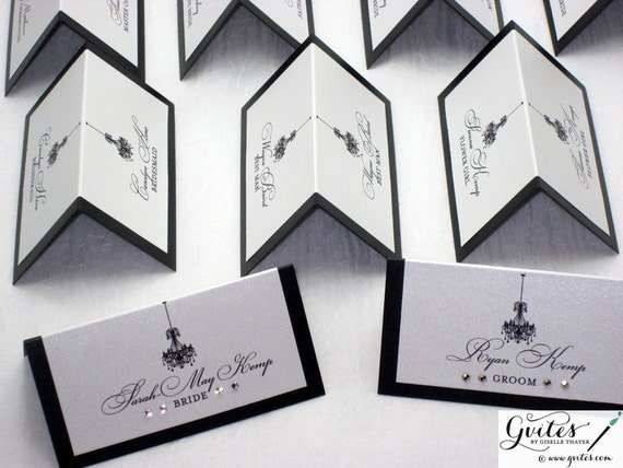 Place card double sided wedding place cards tent cards black for Double sided name tent template